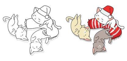 Cute sleeping cats cartoon coloring page vector