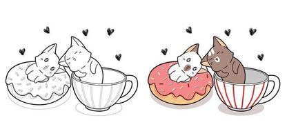 Couple cute cat with donut and cup of coffee cartoon coloring page vector