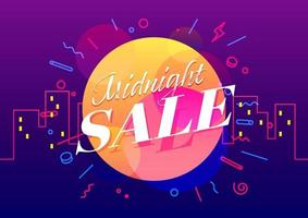 Midnight sale banner template design, Big sale special offer. vector