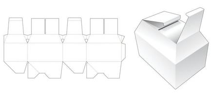 Two flips chamfered packaging die cut template vector