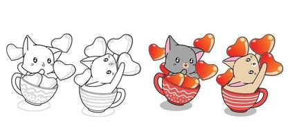 Couple cute cat in cup of coffee and hearts cartoon coloring page vector