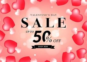 Valentine's day sale banner design template. 50 percent off discount promotion sale banner.