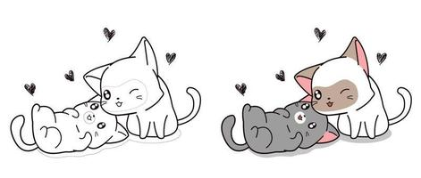 Lover cats cartoon character coloring page vector