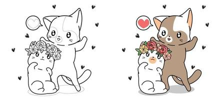 Couple cats are falling in love cartoon coloring page vector