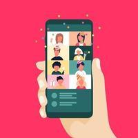 Celebración en línea de Navidad y año nuevo mediante teléfono móvil. fiesta en línea con videollamada. vector