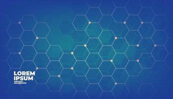 Blue geometric vector hexagons digital technology background.