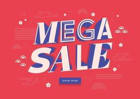 Mega sale banner template. Chinese new year sale banner background. Creative banner, poster, flyer design of sale. vector