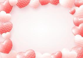 Happy Valentine's Day background with heart and real composition for fashion banner, poster or greeting card. vector