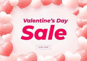 Plantilla de banner de venta de día de San Valentín. promoción de descuento de venta. vector