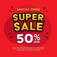 Super sale banner. Sale banner template design. vector