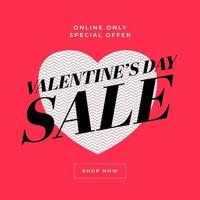 Valentines day sale banner, poster template. vector