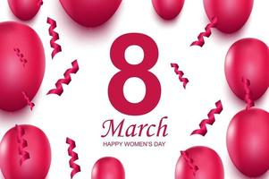 Happy women's day greeting card. Pink air balloons and falling confetti. vector