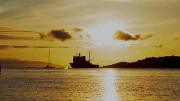 Timelapse of Ships in The Sea During Sunset at Vladivostok, Russia