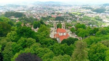 Santuario do Bom Jesus Sanctuary drone aerial view in Braga, Portugal