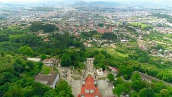 Aerial reveal of Bom Jesus do Monte church, Braga, Portugal