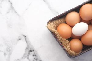 Close-up of eggs in a basket photo