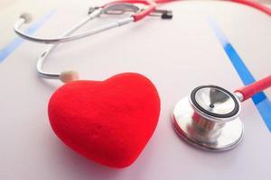 Símbolo en forma de corazón y un estetoscopio sobre fondo blanco.