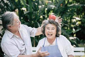 Elderly couple cooking healthy food together photo