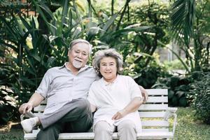 Elderly couple talking together