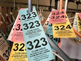 Colorful coat check tags