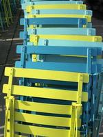 Yellow and blue metal chairs