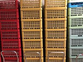 Colorful plastic baskets stacked up