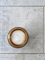 café cortado desde la vista superior