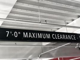 Maximum Clearance sign in a parking garage photo