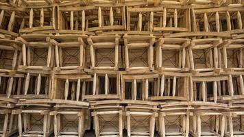 Wood chairs stacked