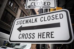 Sidewalk Closed sign in New York City photo