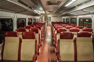 Red train seats