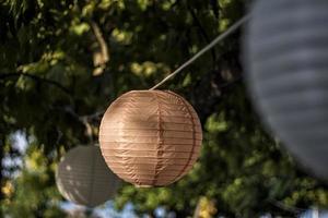 Paper lanterns in the garden