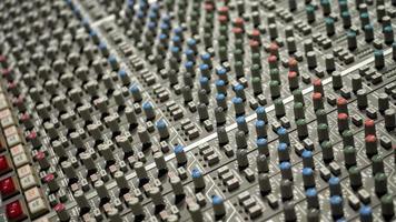 Mixer board close up photo