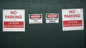 Construction site warning signs