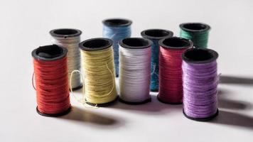 Colorful sewing threads photo