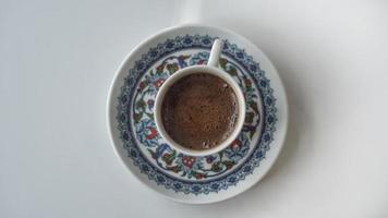taza de café turco desde arriba