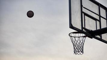 Basketball flying into a basketball hoop