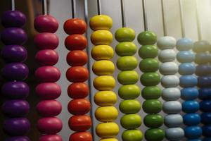 Abacus with colorful beads photo