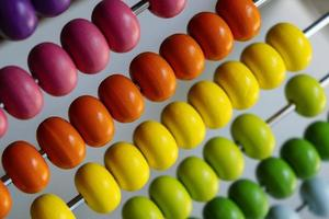 Close up of an abacus with colorful beads photo