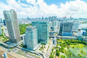 edificios en la ciudad de tokio, japón foto