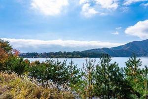 Beautiful landscape around Lake Kawaguchiko in Yamanashi, Japan photo