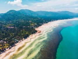 Aerial view of a beautiful tropical beach photo