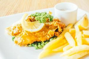 Fish and chips on the plate