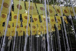 Banderas fuera de un templo público budista tailandés
