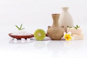 Spa treatment with sea salt and herbs