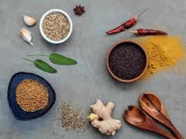 Top view of spices