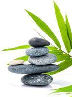 pila de piedras y bambú foto