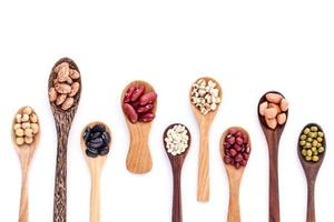 Assortment of beans and lentils in wooden spoons photo