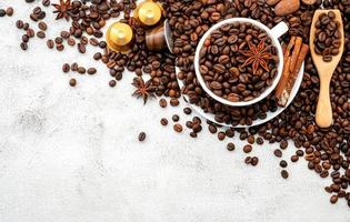 Coffee beans on a light gray background
