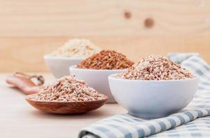 Various grains in bowls photo